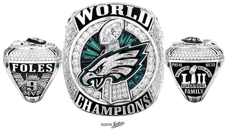 Our Philadelphia Eagles' First-Ever Super Bowl Rings Soar With 219 Diamonds and 17 Green Sapphires